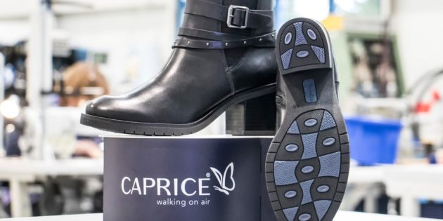 "CAPRICE presents another innovation: BLUE GRIP Pirmasens shoe manufacturer launches the ""BLUE INNOVATION LINE"" using a novel sole and heel technology"